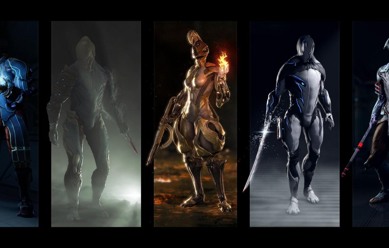 Фото обои оружие, костюм, Вольт, ash, game, warriors, volt, warframe, suits, Эмбер, excalibur, Экскалибур, ember, voban, Вобан
