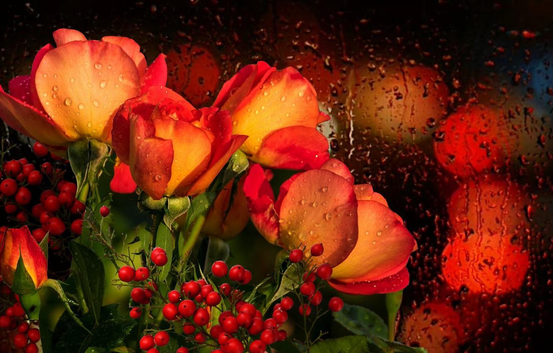Фото обои капли, Букет, ДОЖДЬ, РОЗЫ, Романтика., ПОЗДРАВЛЕНИЕ