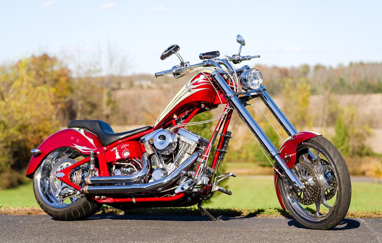 Фото обои Red, Chopper, Custom, Motorcycle