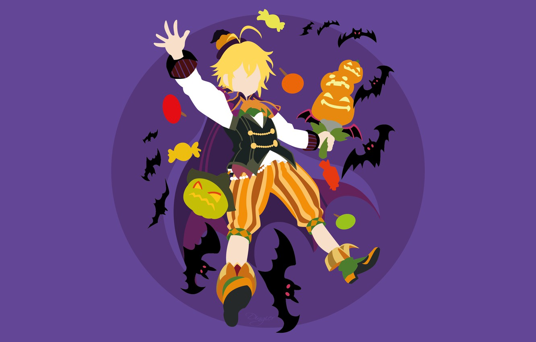 Фото обои фон, минимализм, тыква, парень, летучие мыши, хеллоуин, Nanatsu no Taizai, Семь смертных грехов
