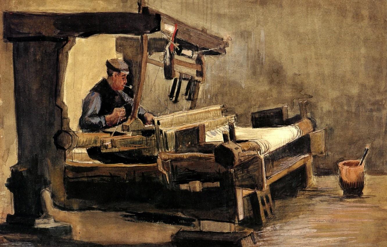 Фото обои белая ткань, Винсент ван Гог, Weaver 3, ткач с трубкой