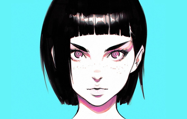 Фото обои взгляд, стрижка, брови, веснушки, черные волосы, голубой фон, челка, портрет девушки, Илья Кувшинов