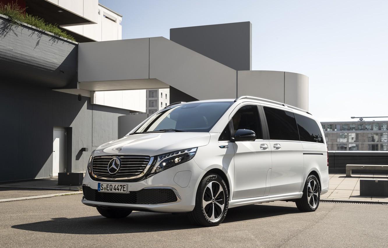 Фото обои белый, Mercedes-Benz, минивэн, EQV, электрический концепт