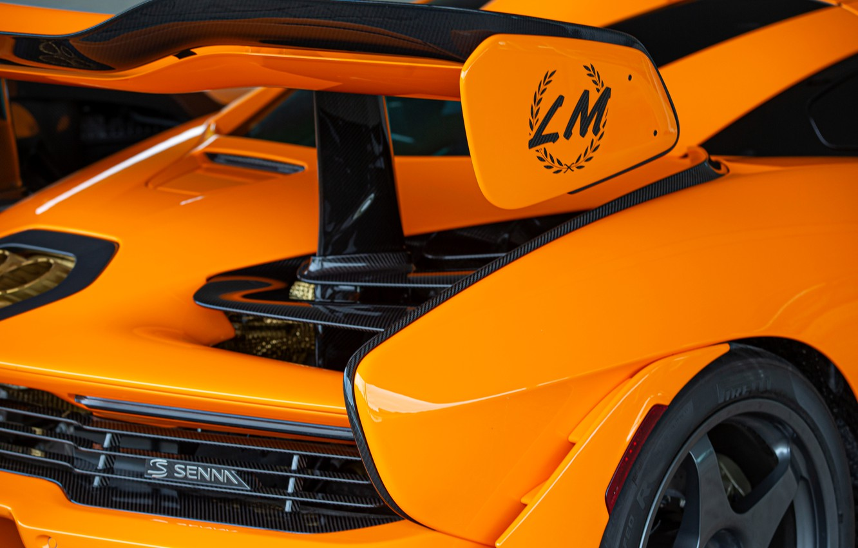 Фото обои оранжевый, McLaren, антикрыло, Senna, MSO, 2020, Senna LM