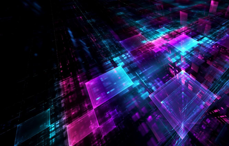 Фото обои отражения, абстракция, кубы, квадраты, грани, геометрия, голограмма, проекция, голография