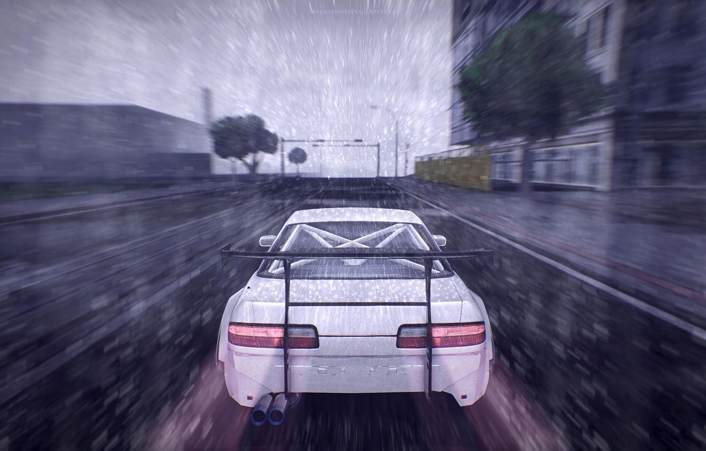 Фото обои game, rain drops, gta sa, nissan onevia