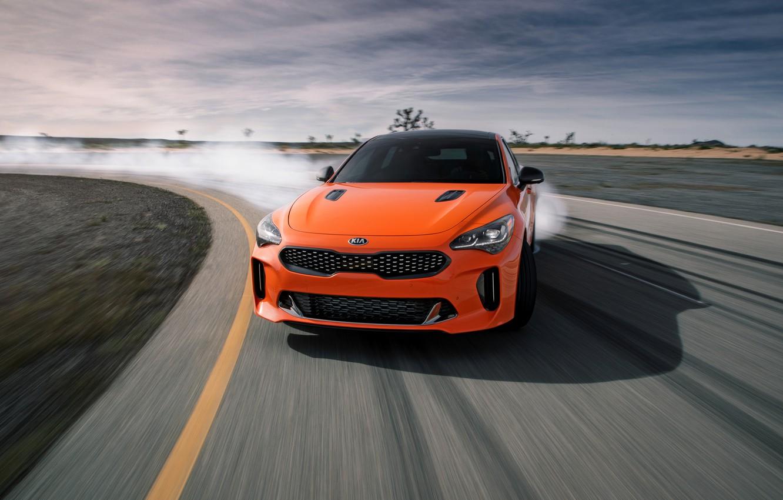 Фото обои оранжевый, трек, KIA, Kia, GTS, пятидверный, Stinger, 2020, фастбэк, KIΛ