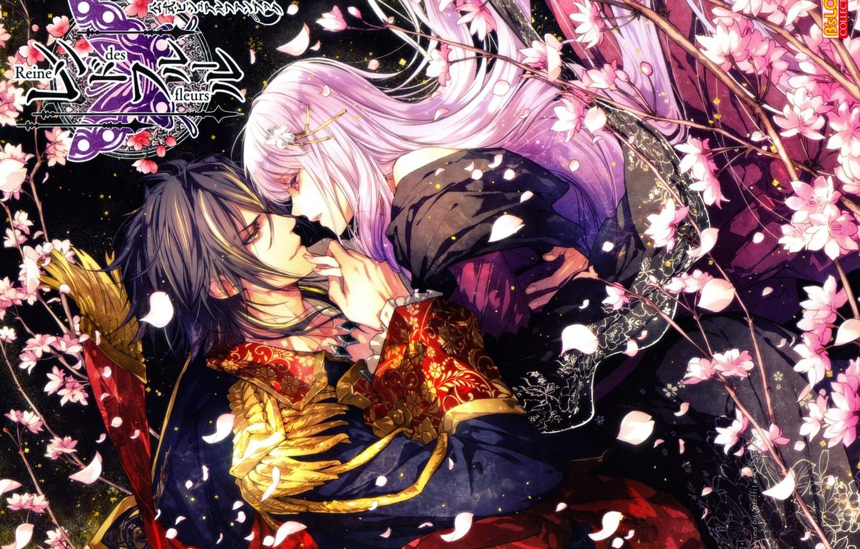 Фото обои розовые волосы, королева цветов, лепестки сакуры, visual novel, leon, эполет, reine des fleurs, violette, смотрят …