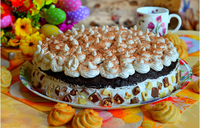 Фото обои Кружка, Сладости, Торт, Печенье