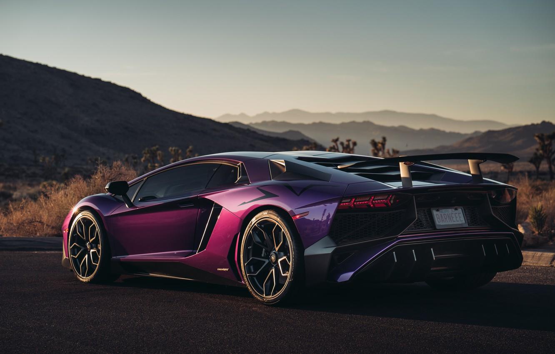 Фото обои Lamborghini, суперкар, вид сзади, Aventador, HRE, Superveloce, LP-750, Aventador SV, Viola Parsifae