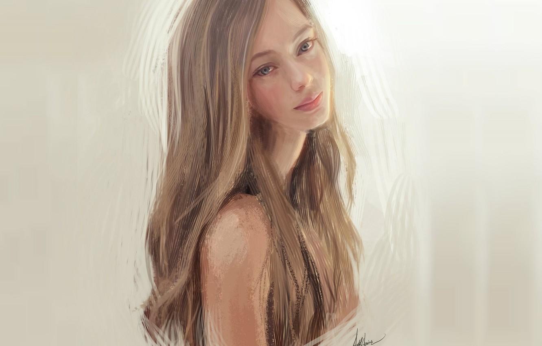 Фото обои пастель, серый фон, плечо, шея, русые волосы, портрет девушки, нежная улыбка, by Astrid Aguirre