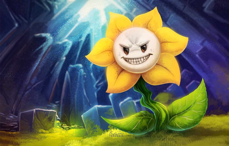 Фото обои цветок, существо, хищный, Undertale, Андертейл