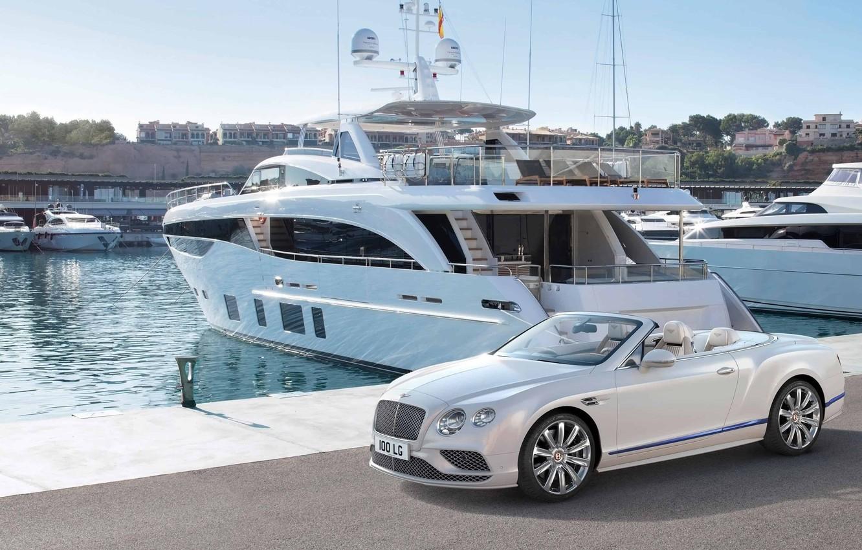 Фото обои яхта, sea, bentley continental gt cabriolet, яхт-клуб