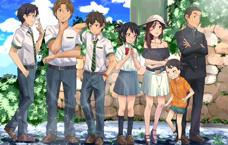 Фото обои аниме, персонажи, Kimi no Na wa, Твоё имя