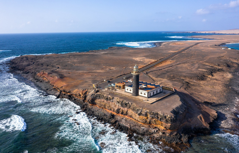 Фото обои spain, drone, Fuerteventura, Punta Jandía Lighthouse