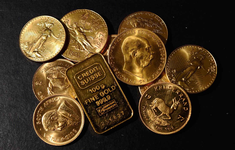 Фото обои золото, деньги, монеты, слиток