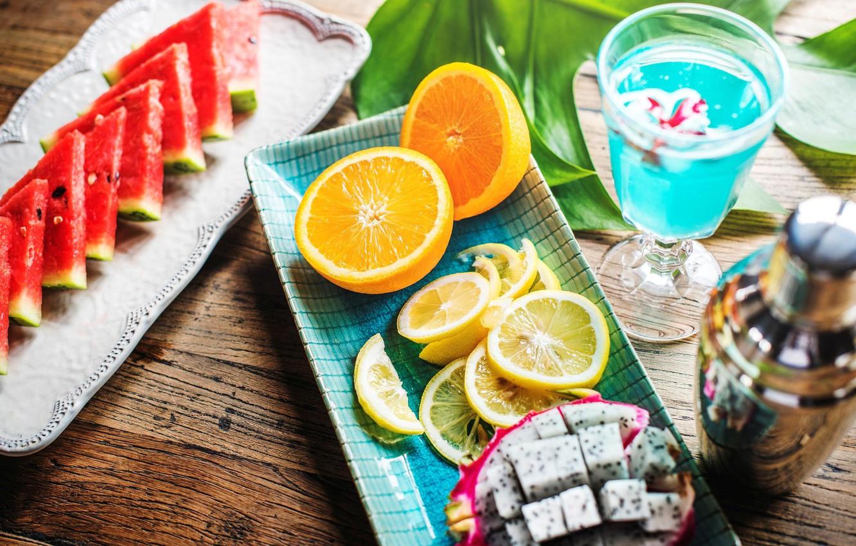 Обои напиток, стол, фрукты, цветы, фрукт дракона, апельсин, арбуз. Еда foto 7