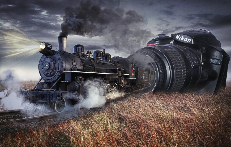Фото обои степь, рендеринг, коллаж, дым, паровоз, железная дорога, фотокамера, фотоманипуляция