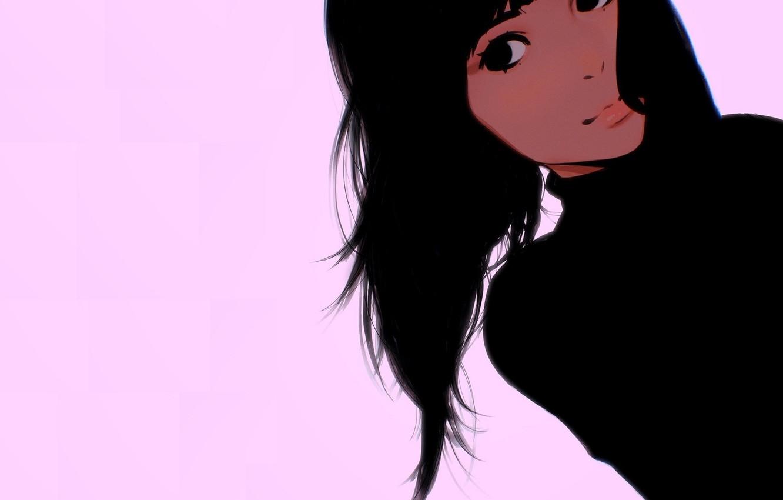 Фото обои лицо, черные волосы, розовый фон, родинки, портрет девушки, Илья Кувшинов