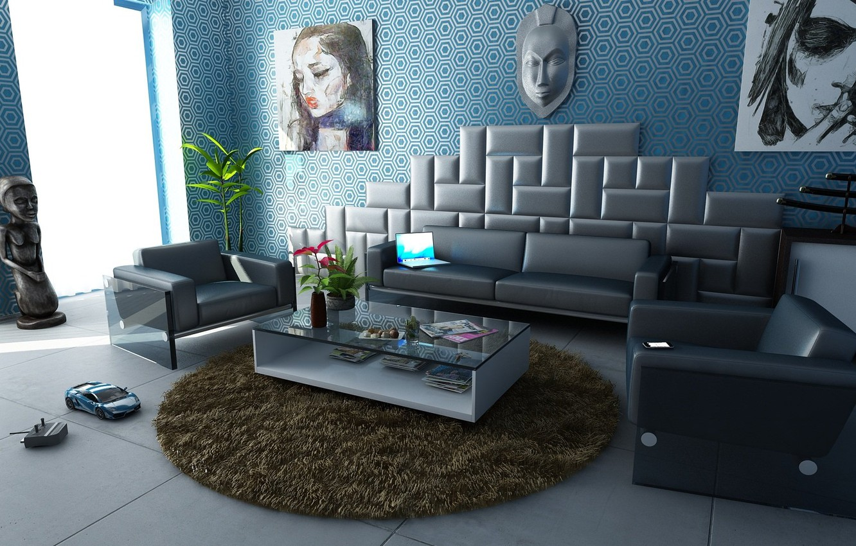 Фото обои комната, диван, игрушка, мебель, интерьер, ковёр, кресла, картины, столик, гостиная