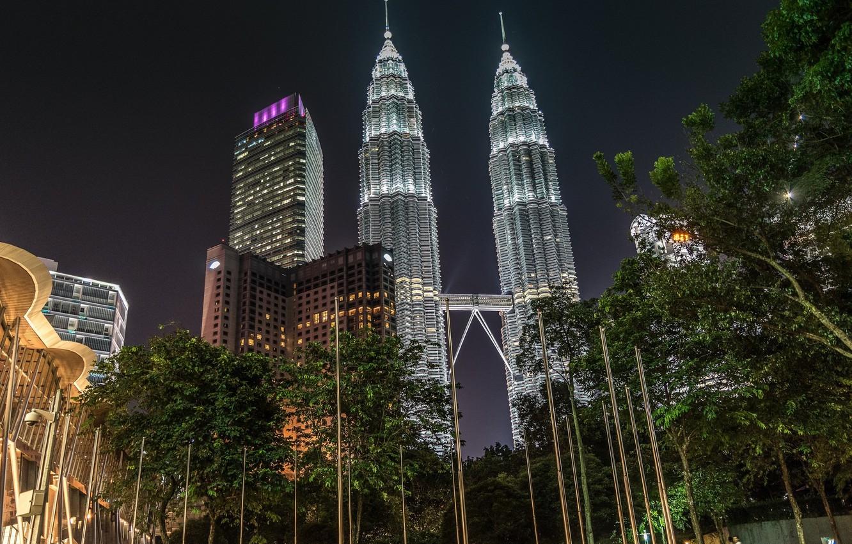 Фото обои ночь, башни, Малайзия, Куала-Лумпур