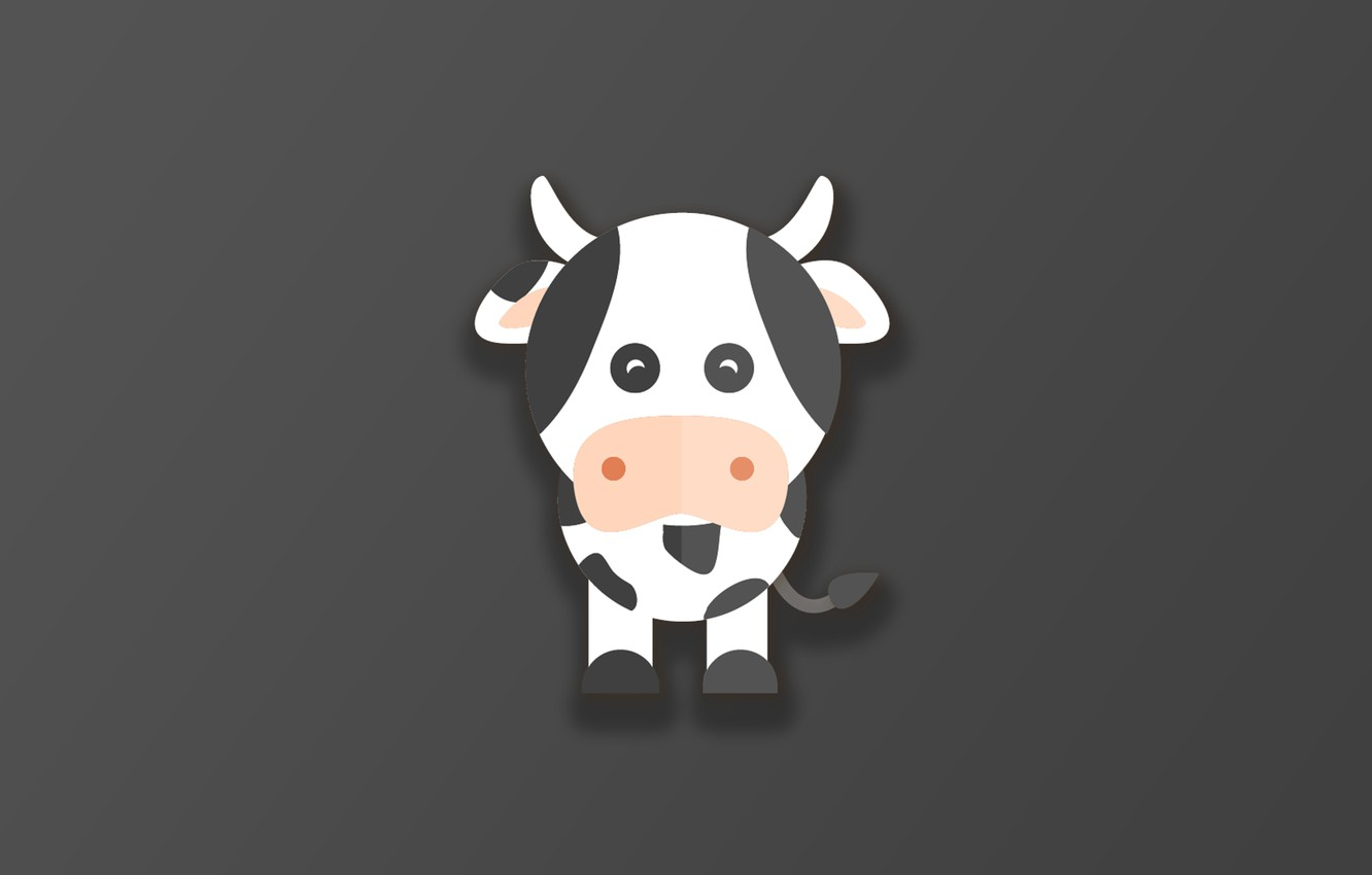 Фото обои horns, minimalism, animal, funny, digital art, artwork, cute, simple background, Cow
