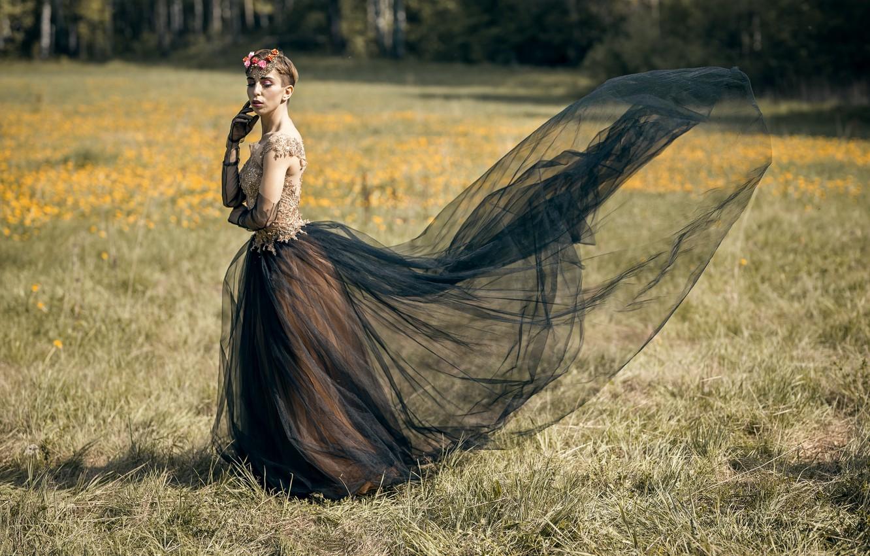 Фото обои поле, девушка, Lera