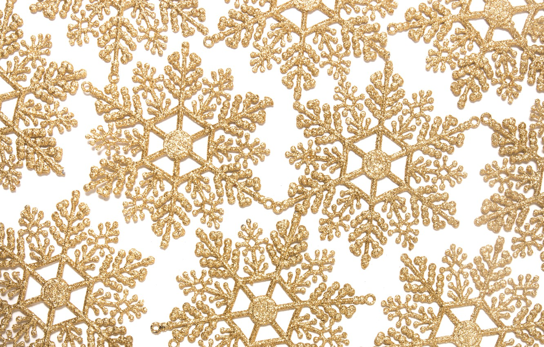 Фото обои зима, снежинки, фон, Новый Год, Рождество, golden, Christmas, winter, background, New Year, snowflakes