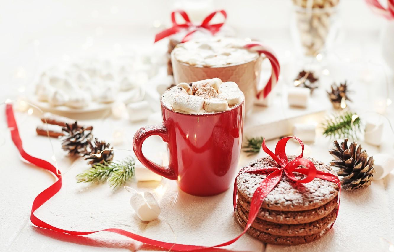 Фото обои праздник, печенье, лента, чашка, шишки, горячий шоколад, зефир