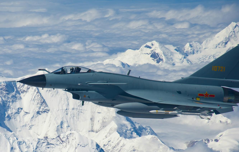Фото обои fighter, Mountain, Jet, airplane, J-10, Chinese airforce