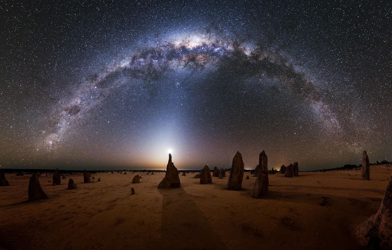 Фото обои Луна, Австралия, Млечный путь, Moon, Australia, Milky Way, Michael Goh, zodiac light, зодиакальный свет
