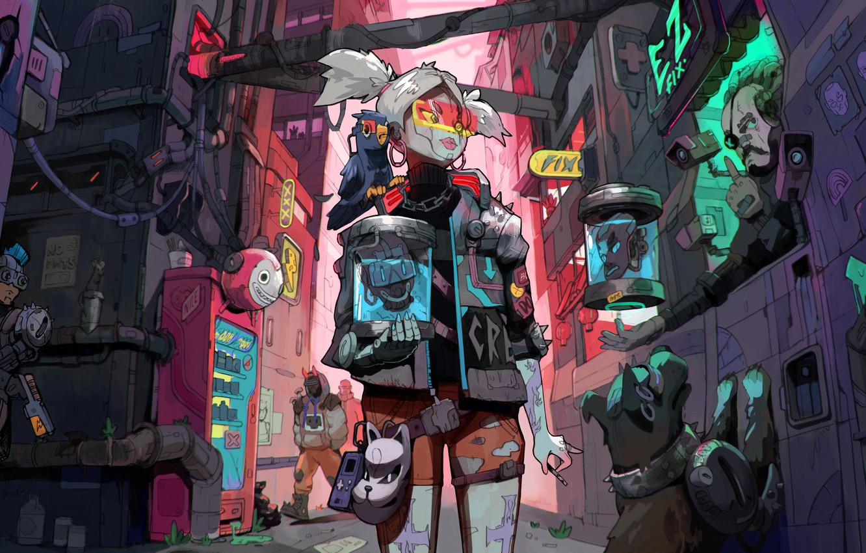 Фото обои girl, game, art, Cyberpunk 2077, cd project red, wapon, 2077, Cyberpunk 2076, cyberstreet
