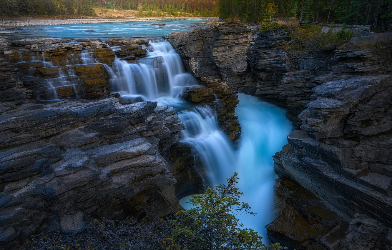 Фото обои Jasper National Park, waterfalls, Canadian Rockies, Athabasca Falls