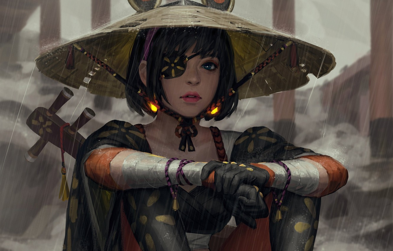 Фото обои взгляд, девушка, поза, шляпа, арт, повязка, art