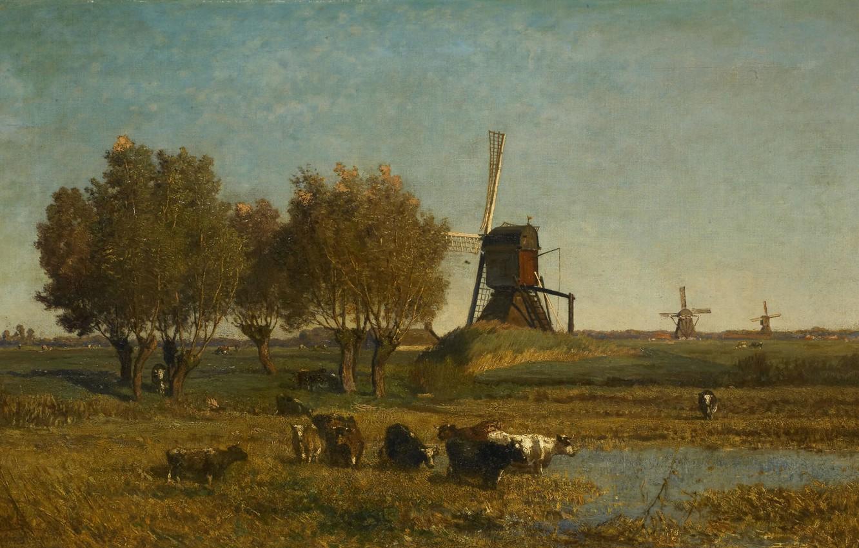 Фото обои масло, картина, холст, 1877, Paul Gabriel, Пол Габриель, Пейзаж с тремя ветряными мельницами