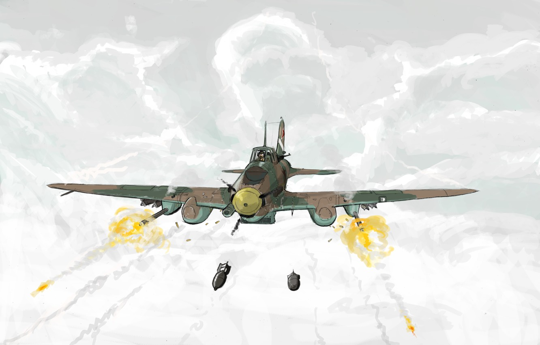 Фото обои облака, рисунок, арт, стрельба, штурмовик, бомбы, ВВС СССР, Ильюшин, Ил-2