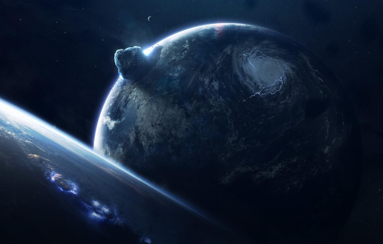 Фото обои Звезды, Планета, Космос, Взрыв, Планеты, Шторм, Planets, Fall, Арт, Stars, Space, Art, Спутник, Planet, Storm, ...