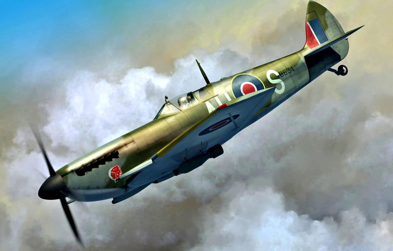Обои Spitfire Mk.XVI, Packard Merlin 266, Royal Air Force, истребитель - бомбардировщик, американский двигатель, с каплевидным фонарём. Авиация foto 7