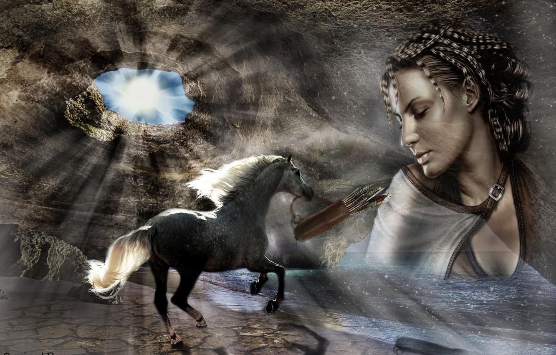Фото обои девушка, коллаж, лошадь