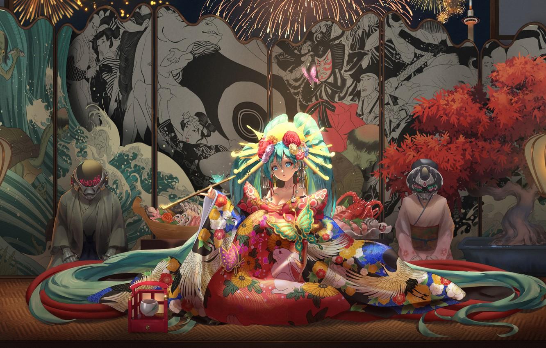 Фото обои vocaloid, Hatsune Miku, games, butterfly, kimono, games girl
