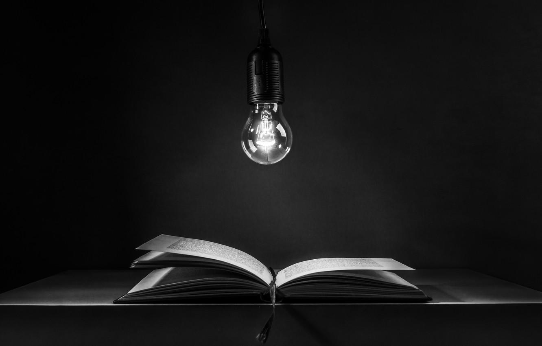 Фото обои лампочка, книга, book, light bulb, Ute Scherhag, неучение - тьма, учение - свет, teaching - …