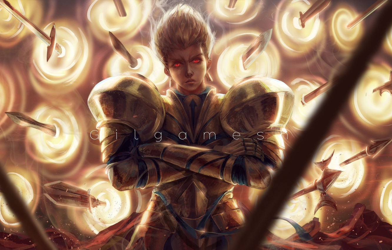 Фото обои парень, мечи, Гильгамеш, золотые доспехи, Fate / Stay Night, Fate / Zero