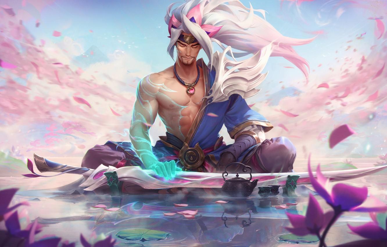Фото обои League of Legends, Ясуо, Yasuo, Дух цветения, Spirit blossom