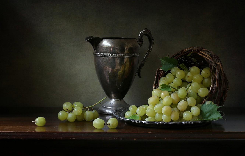 Фото обои стиль, виноград, кувшин, натюрморт, корзинка, гроздья