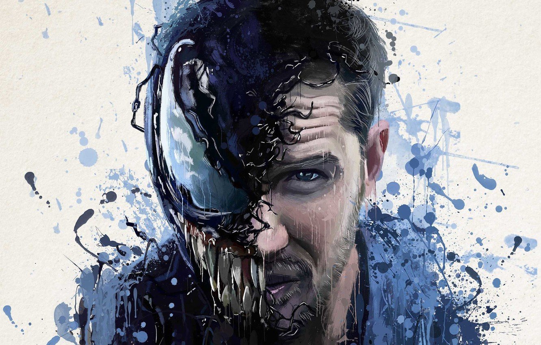Фото обои абстракция, фон, фантастика, рисунок, арт, кляксы, постер, ужасы, Том Харди, Tom Hardy, Веном, Venom