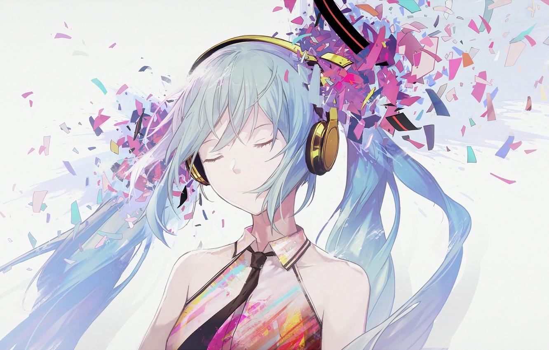 Фото обои осколки, Hatsune Miku, Vocaloid, Вокалоид, голубые волосы, Хатсуне Мику