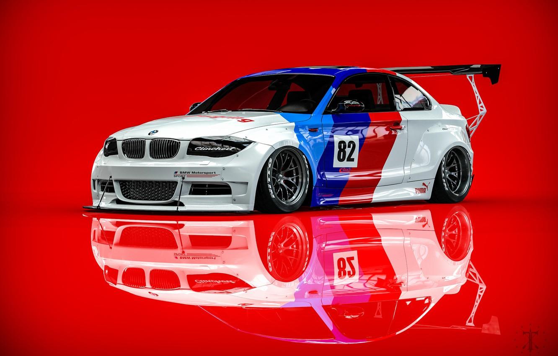 Фото обои Авто, BMW, Машина, Рендеринг, Красный фон, BMW 1 Series, Transport & Vehicles, Clinched, Kasim Tlibekov, ...