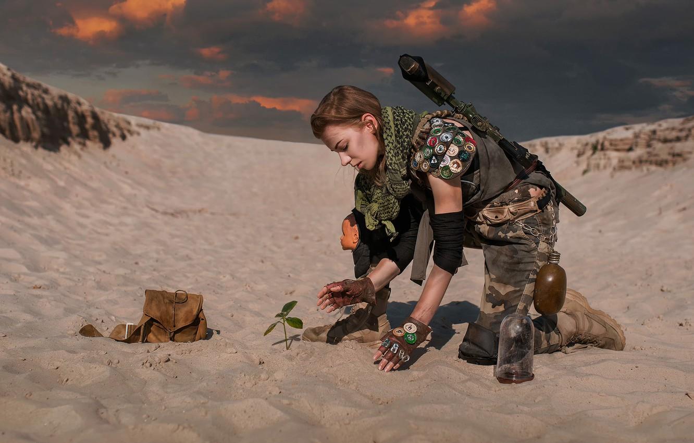 Фото обои девушка, оружие, пустыня, Dima Begma, New life