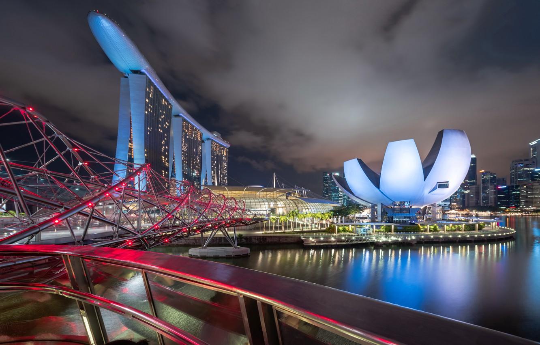 Фото обои ночь, город, Singapore, Marina Bay