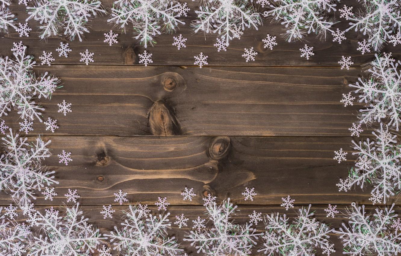 Фото обои зима, снежинки, дерево, доски, Новый Год, Рождество, new year, Christmas, wood, winter, background, snowflakes, decoration
